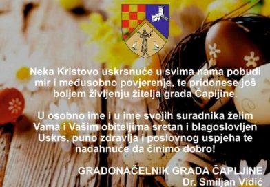 DR. SMILJAN VIDIĆ, GRADONAČELNIK ČAPLJINE UPUTIO ČESTITKU POVODOM USKRSA