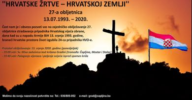 U Čapljini se obilježava 27. obljetnica stradanja pripadnika HVO-a